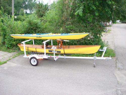 #USSCT1 SQUARE STERN CANOE TRAILER SHOWN WITH UPPER RACK FOR KAYAK