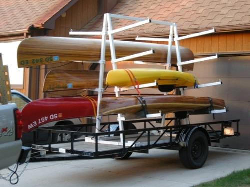 #UKCT8TD or DS  8 PLACER TRUCK OR TRAILER BED CANOE KAYAK RACK. CAN ALSO BE SET UP WITH CASTER WHEELS FOR A ROLLING DISPLAY STAND